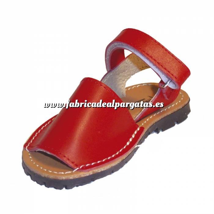 Imagen Roja Avarca - Menorquina piel niño Roja Talla 19