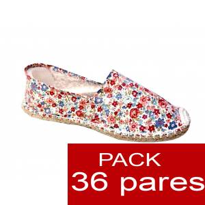 Imagen Mujer Estampadas Alpargata estampada FLORES rojas Caja 36 pares (Últimas Unidades)