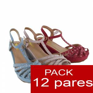 Otras Modelos - Sandalias con cu�a y pedrer�a ROSA PALO Ref. WW1079-80 - Caja de 12 pares (�ltimos lotes) (�ltimas Unidades)