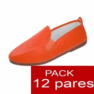 Zapatillas de Tela (Kung fu) - Zapatillas de TELA NARANJA Lote de 12 pares (Últimas Unidades)